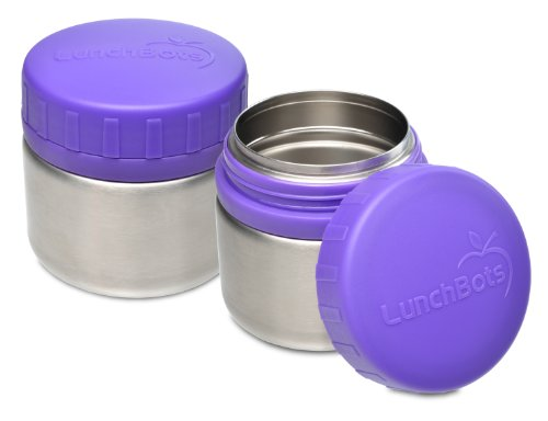 LunchBots Rounds Leak Proof Stainless Steel Food Containers Set of 2, 8 ounce, Purple