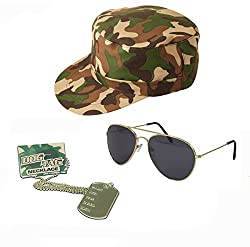 Army Fancy Dress Camouflage Hat Dog Tags Gold Aviators Mens Ladies Unisex