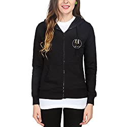 Campus Sutra Womens Fleece Sweatshirt ( CS_ZH_W_LUP_BL_S _ Black _ S )
