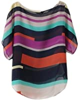 VOBAGA® Women's Short Bat Sleeve Striped Hit Colors Chiffon T Shirt Tops Blouse