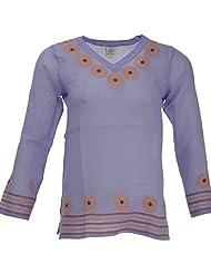 Go Lucknow Women's Cotton Regular Fit Kurti (GL-AM-138, Purple, X-Small)