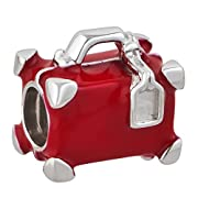Red Travel Suitcase Charm 925 Sterling Silver Bead Fits Pandora Charms