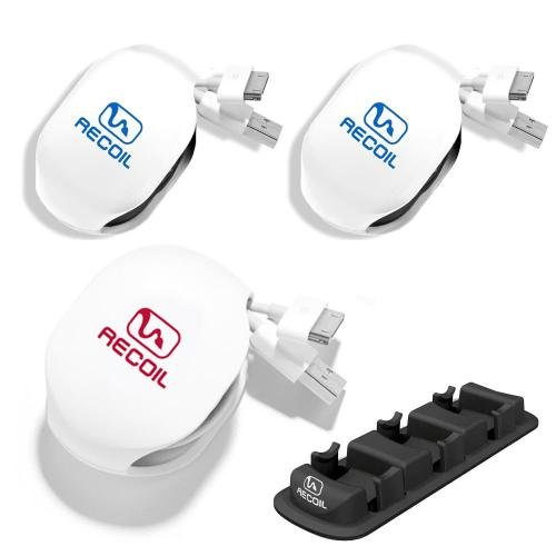 Recoil Automatic Cord Winder For Headphones, Earbuds, Usb Cables And Phone, Tablet And Reader Chargers. The Original Retractable Cord Winder. 3Pack Combo Including 2 Medium & 1 Large Cord Winder With Organizer Rack. No More Tangled Cords! Color White.