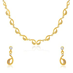 Oviya Gold plated Slender Beauty Necklace Set with Crystals for Women NL2103192G