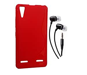 Mocell Lenovo A6000 Mocell RED SOFT BACK COVER CASE + EARPHONE COMBO
