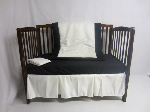 Baby Doll Zuma 4 Piece Crib Bedding Set, Black/White
