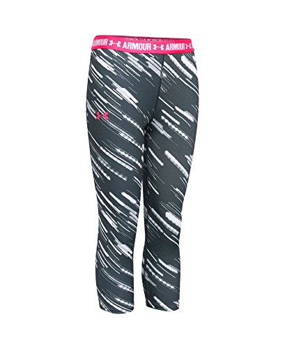 Under Armour Women's HeatGear Armour Printed Capri, Stealth Gray (010), Youth X-Small