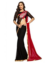 Designersareez Women Faux georgette Embroidered Black Saree with unstitched blouse