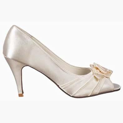 Onlineshoe Mesdames bas des femmes talon Peep Toe mariée demoiselle d'honneur chaussures de mariage - ruban de satin - satin ivoire Ivory UK6 - EU39 - US8 - AU7