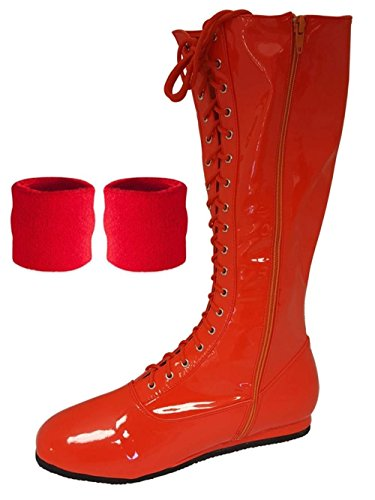 Red Pro Wrestling Costume Boots with Matching Sweatbands
