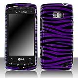 LG Ally VS740 Cell Phone Purple/Black Zebra Protective Case
