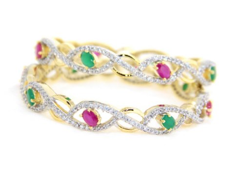 Natural Emerald Stone American Diamond 2 pec Bangle Set From Lazreena,Bangle Size-2'2. (beige\/sand\/tan)