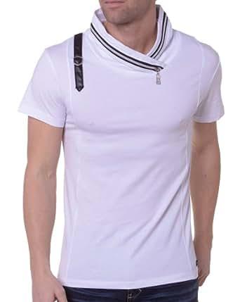 BLZ jeans - Tee-Shirt Homme Bicolore Col Zippé - couleur: Blanc - taille: XL