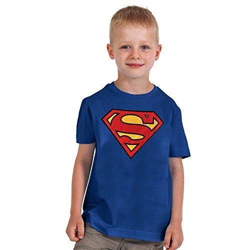 Superman -Maglia per bambini con Logo - Licenza ufficiale - 100% cotone - Blu - S