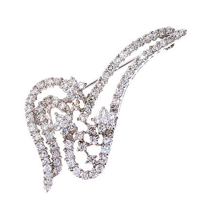 Sterling Silver C.Z. Diamond Pin Brooch (Nice Holiday Gift, Special Black Firday Sale)
