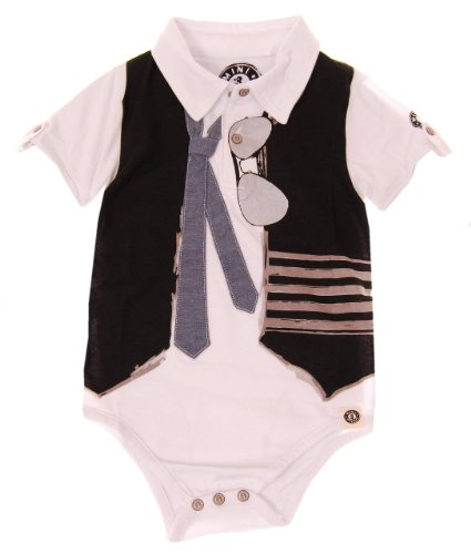 Mini Shatsu Boys Real Tie And Vest Bodysuit Polo - 9M - White