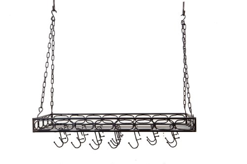 Old Dutch International Rectangular Hanging Kitchen Pot Rack with 16 Hooks, Medium, Matte Black