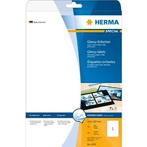 Herma Etiketten A4 4909 210x297 mm Papier glänzend 25 Stück weiß