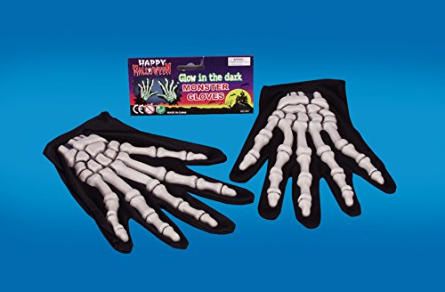 Star Power Glow In The Dark Skeleton 1 Pair Gloves, Glow Black, One-Size
