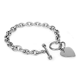 "Designer Inspired Stainless Steel Heart Toggle Tag Bracelet Engravable 7.25""L"