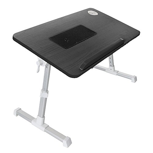 Quze Adjustable Wooden Laptop Desk Notebook Computer Stand with Built in Cooling Fan Portable, Foldable Lap Desk