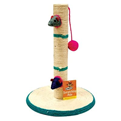 Cat Scratching Pole Scratch Post Activity Centre Play Toys Climbing Sisal Mouse and ball 40cm Playpost Toy Mouse Cats Claws Tree