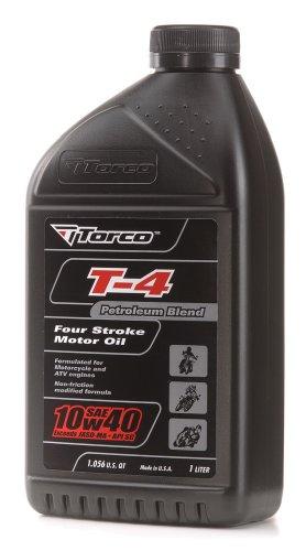 Torco T671044CE T-4R 10w40 4-Stroke Synthetic Blend Motor Oil Bottle - 1 Liter Bottle