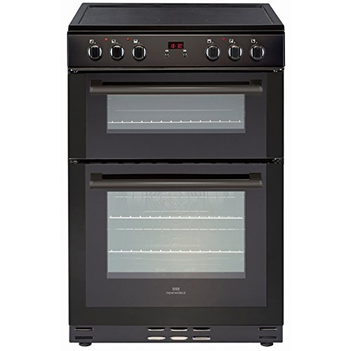 New World Ltd 60EDOMCB 600mm Double Electric Cooker 4-Zone Ceramic Hob Black