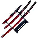 Whetstone Cutlery 3 Piece Marble Red Katana Sword Set