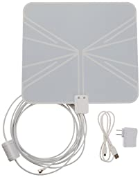 AmazonBasics Ultra-Thin Amplified Indoor HDTV Antenna - 50 Mile Range