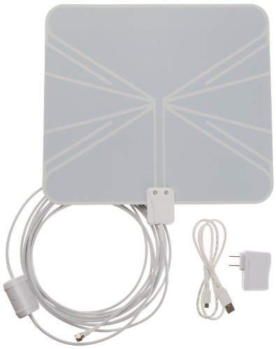Buy Cheap AmazonBasics Ultra-Thin Amplified Indoor HDTV Antenna - 50 Mile Range