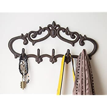 """Cast Iron Wall Hanger - Vintage Design with 5 Hooks - Keys, Towels, Clothes, Anprons - Wall Mounted, Metal, Heavy Duty, Rustic, Vintage, Recycled, Decorative Gift Idea - 12.9x 6.1""""- With Screws And Anchors By Comfify - CA-1504-25-BR"""