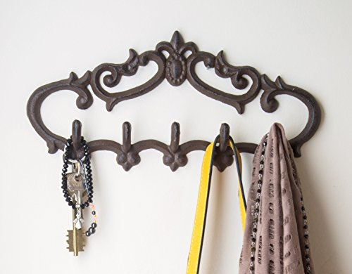 "Cast Iron Wall Hanger - Vintage Design with 5 Hooks - Keys, Towels, Clothes, Anprons - Wall Mounted, Metal, Heavy Duty, Rustic, Vintage, Recycled, Decorative Gift Idea - 12.9x 6.1""- With Screws And Anchors By Comfify - CA-1504-25-BR 0"
