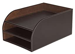 Osco Faux Leather 3 Tier Letter Tray - Brown