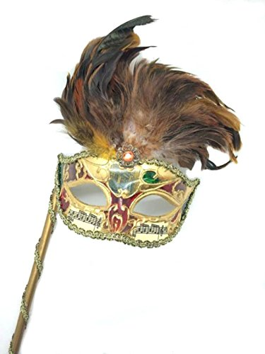 Venetian Mysterious Musical Mardi Gras Masquerade Mask w/ Feather and Stick