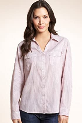 Open Neck Collar Striped Woven Shirt With Linen