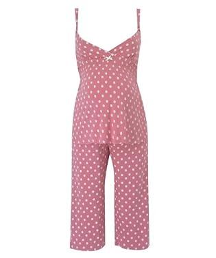 Maternity Coral Spot Cropped Pyjama Set