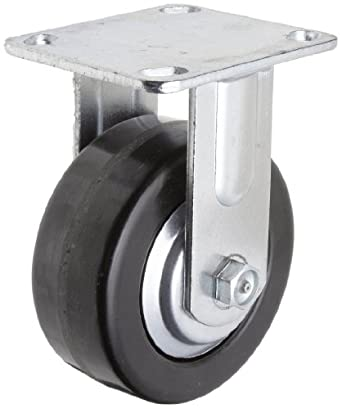 RWM Casters 46 Series Plate Caster, Rigid, Thread Guard, Phenolic Wheel