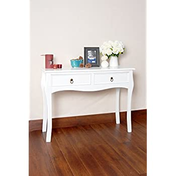 White Finish Curved Legs Accent Console Sofa Table with Two Drawer