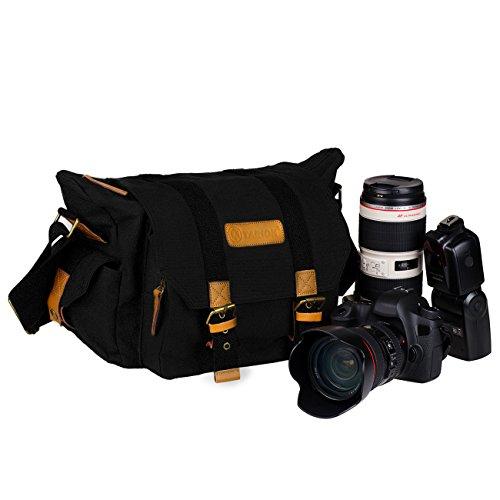 TARION® カメラ バッグ 一眼レフ カメラポーチ カメラケース カメラ・レンズ保護用 ソフトなクッションボックス 付き アウトドア撮影に 防水仕様 軽量 おしゃれ ショルダー 帆布 キャンバス素材 iPad収納可能(2,ブラック)