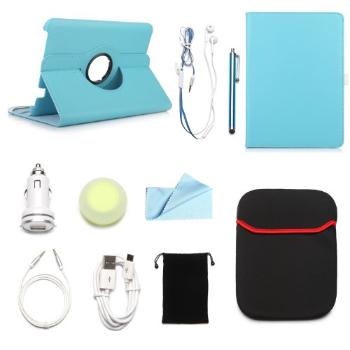 "Arion Kindle 10-Item Accessory Bundle Kit For Amazon Kindle Fire Hd 8.9"" Tablet - 360 Rotating Stand Pu Leather Case, Cleaning Cloth, Stylus Pen,Car Charger,Usb Cable, Aux Cable, Earphone, Wire-Holding Box, Sleeve Case, Drawstring Travel Pouch (Light Blue"