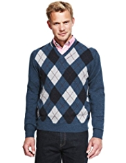 XS Blue Harbour Extrafine Pure Lambswool Argyle Jumper