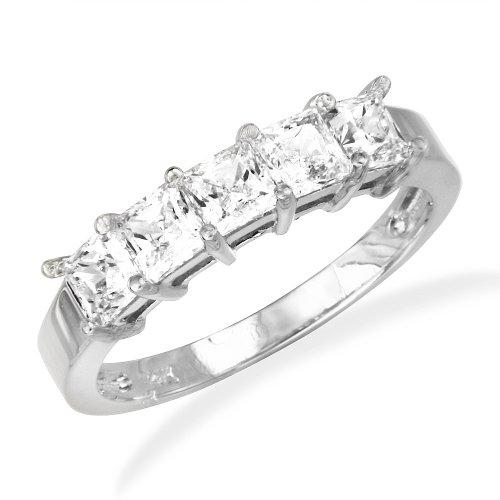 14K White Gold Prong Set 5 Five Stones Princess CZ Cubic Zirconia Bridal Wedding Anniversary Ring Band 1.00ct