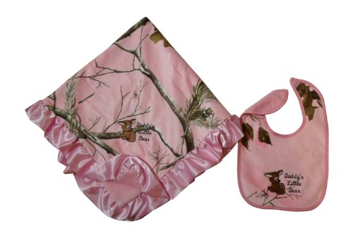 Pink Realtree Baby Blanket & Bib 2Pc Gift Set - Daddy'S Little Deer Embroidered front-828043