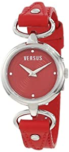 Versus by Versace Women's 3C68000000 Versus V Red Dial with Crystals Genuine Leather Watch