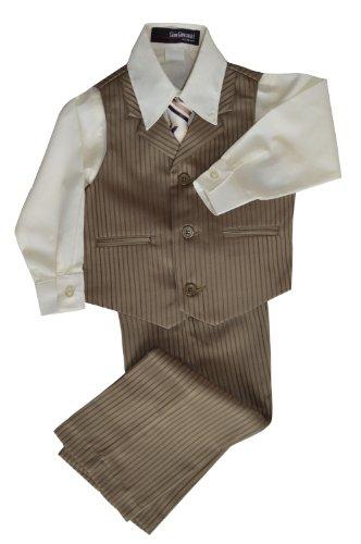 G280 Pinstripe Boys Formal Dresswear Vest Set (4T, Natural) front-979938