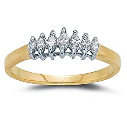 10k Choice of White or Yellow Gold Seven-Stone Marquise Diamond Band