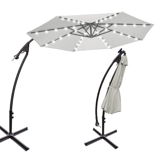 Led Umbrella Amazon: 9' CANTILEVER SOLAR POWERED 40 LED LIGHT PATIO UMBRELLA