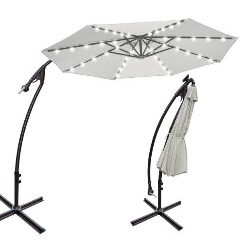 9 39 cantilever solar powered 40 led light patio umbrella outdoor garden sunshade ecru guide. Black Bedroom Furniture Sets. Home Design Ideas