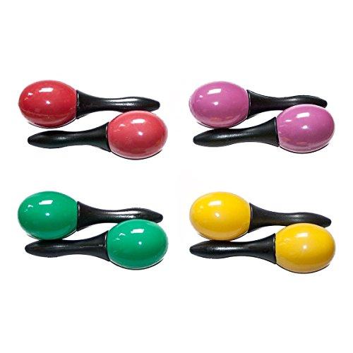 Pixnor - Confezione da 10 paia di maracas, in plastica, divertenti strumenti musicali a percussione, giocattoli per bambini, colore casuale